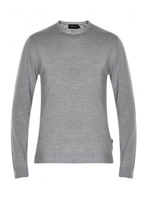 Margrate Fine Knit Merino Wool Jumper Grey Melange