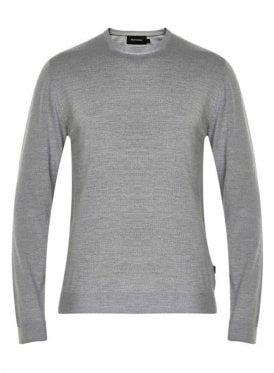 Margrate Fine Knit Merino Wool Jumper Grey Melange