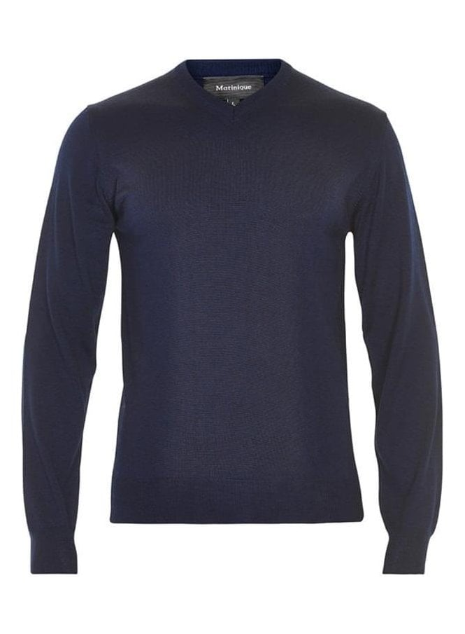 MATINIQUE Mathew V Neck Basic Jumper Dark Navy