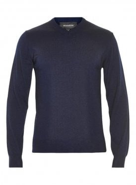 Mathew V Neck Basic Jumper Dark Navy