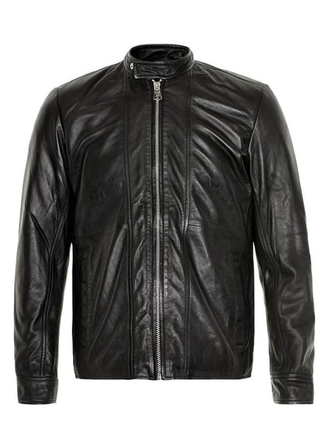 MATINIQUE Wilfred Leather Biker Style Jacket Black