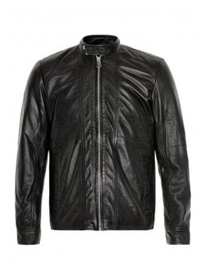 Wilfred Leather Biker Style Jacket Black