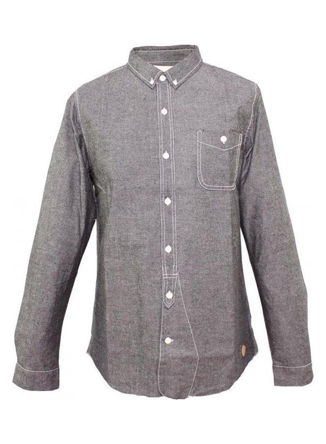 NATIVE YOUTH Chambray Shirt Charcoal