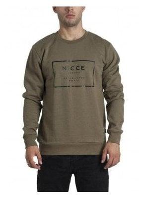 Est Mmx111 Crew Neck Block Print Sweater Khaki