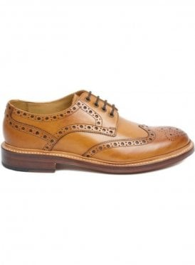 Saunders Leather Brogue Shoe Tan