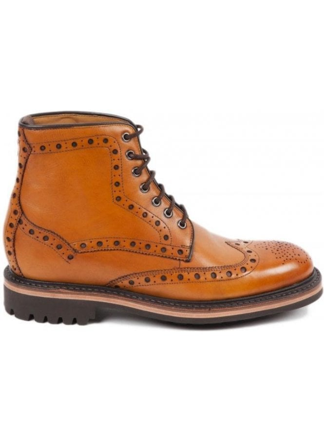 OLIVER SWEENEY Selby Goodyear Welted Rubber Sole Brogue Boot Tan