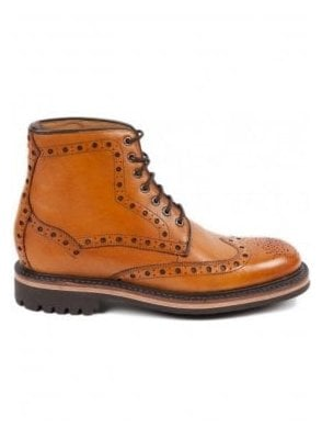 Selby Goodyear Welted Rubber Sole Brogue Boot Tan