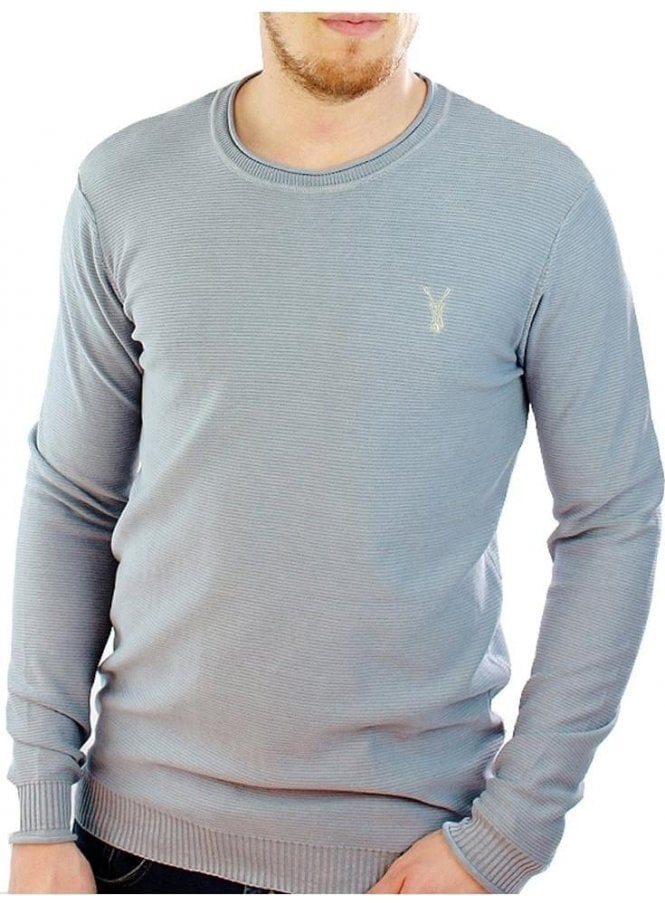 PEARLY KING Fluid Thin Knit Ribbed Crew Neck Jumper Sky