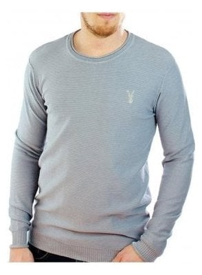 Fluid Thin Knit Ribbed Crew Neck Jumper Sky