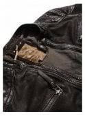 PEARLY KING Gear Biker Style Zip Cuff Detail Leather Dark Brown