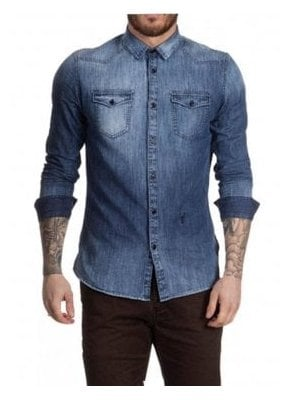 Tack Long Sleeve Denim Shirt Light Denim
