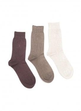 3 pack Eckford Bamboo Socks Beige
