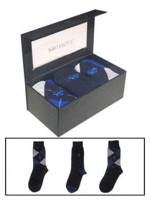 Black Label 3 Pack Luxury Bamboo Socks - Navy Argyle