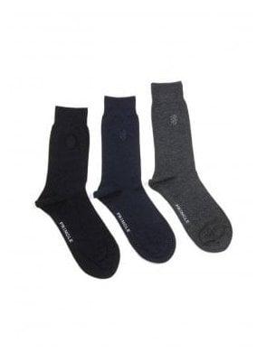 Eckford 3 pack Plain Bamboo Socks -Black, Navy & Grey