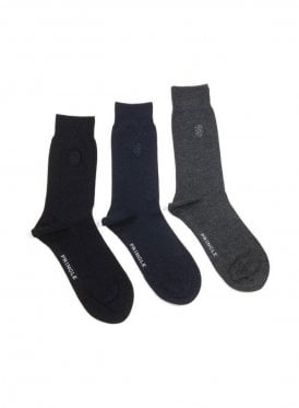 Eckford 3 pack Plain Bamboo Socks -Black, Navy & Grey