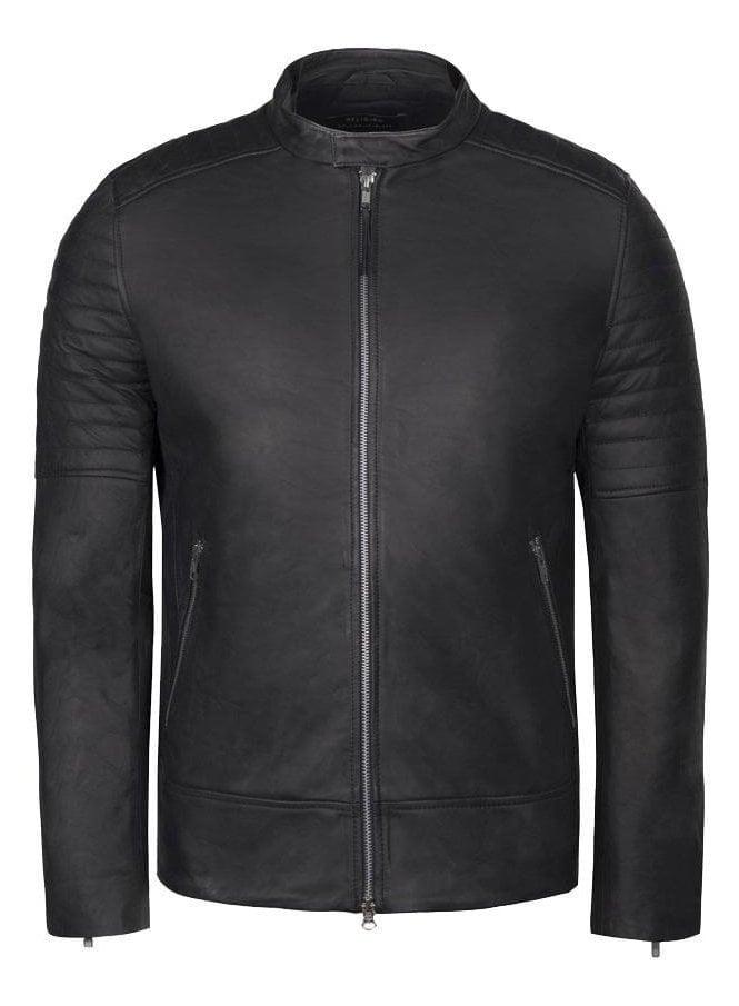RELIGION Dash Leather Biker Jacket Black