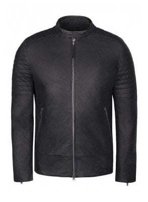 Dash Leather Biker Jacket Black