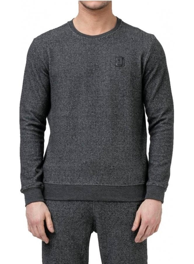 RELIGION Hazard Herringbone Crew Neck Sweater Jump Black/grey