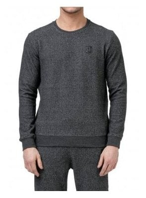 Hazard Herringbone Crew Neck Sweater Jump Black/grey