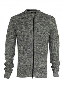 Kid Long Sleeve Textured Knit Jacket Grey/white (AW15)