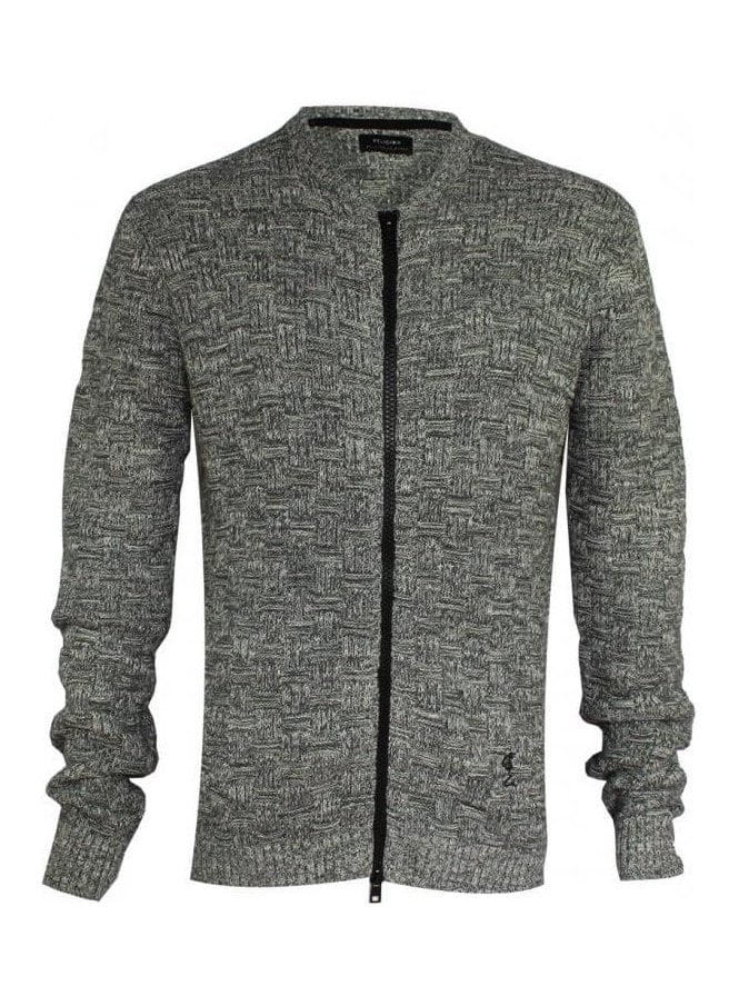 RELIGION Kid Long Sleeve Textured Knit Jacket Grey/white
