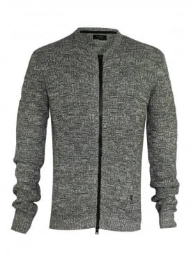 Kid Long Sleeve Textured Knit Jacket Grey/white