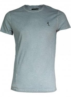 Oil Washed Crew Neck Tshirt Silver
