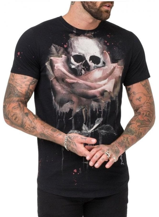 RELIGION Rose Painting Tee Shirt Black