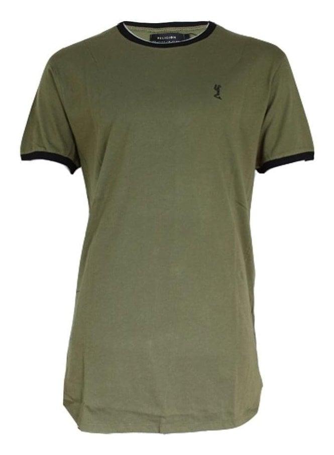 RELIGION Stowe Ringer Longline Tshirt Khaki/black
