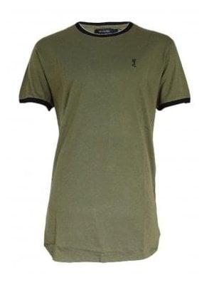 Stowe Ringer Longline Tshirt Khaki/black