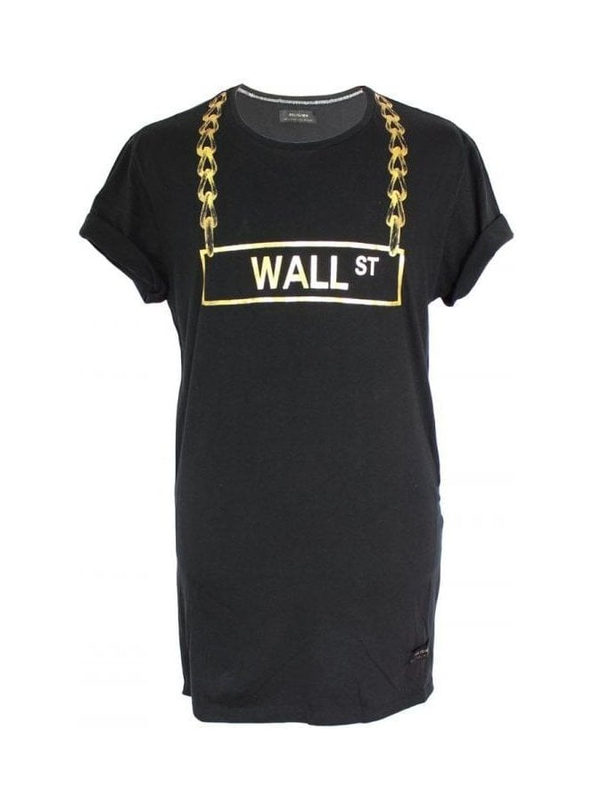 RELIGION Wall St Ss Crew Tee Jet Black