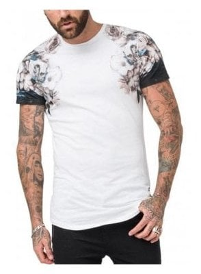 Wild Night Shoulder Print T Shirt White
