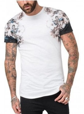 Wild Night Shoulder Print T Shirt White