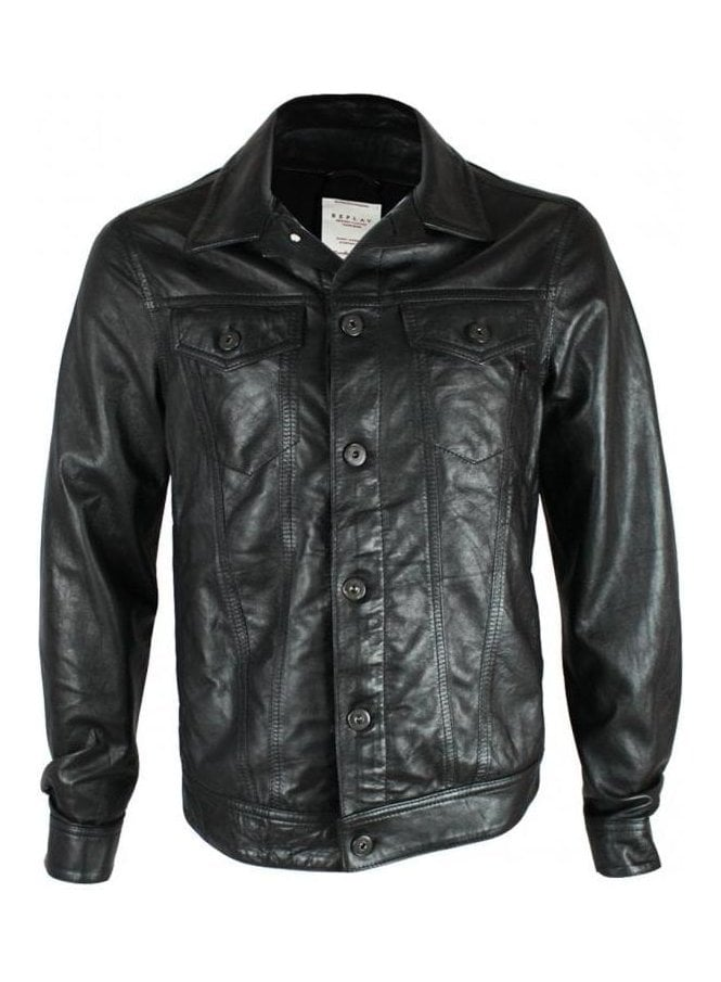 REPLAY 2 Pocket Detail Leather Black