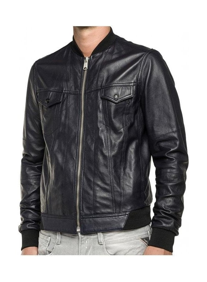 REPLAY 2 Pocket Detail Ribbed Collar And Cuff Leat Black Leather Jacket