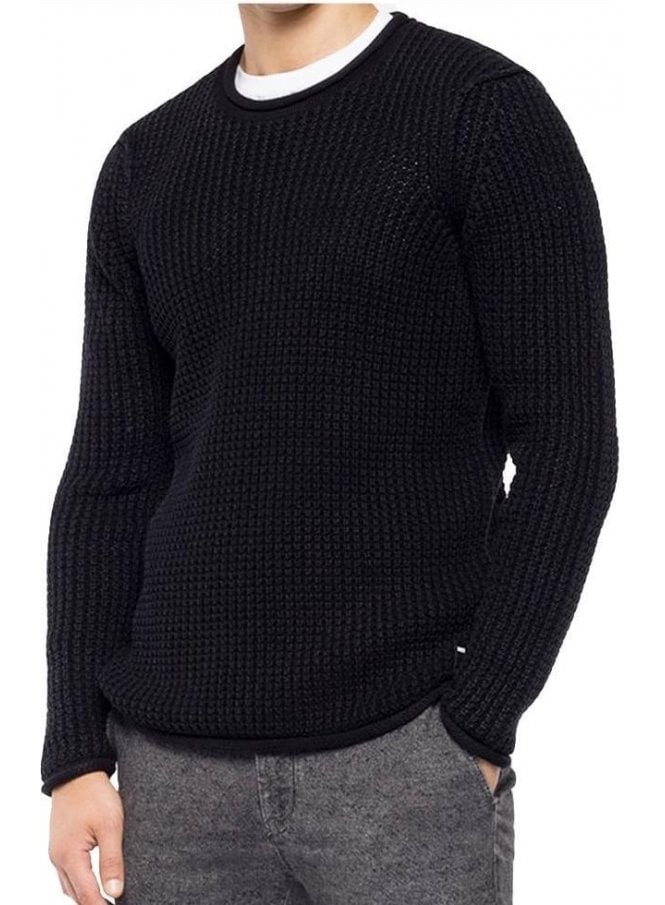 REPLAY 3D Knit Sweater Enzymes Black