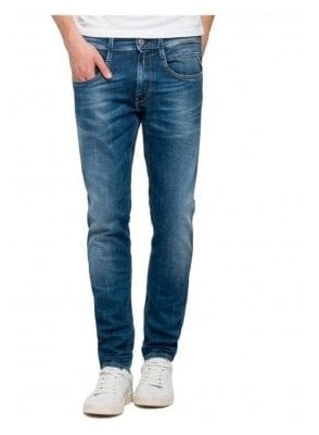 Replay Anbass Regular Slim Fitting Denim Jean Medium Dark Denim 010