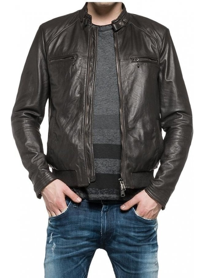 REPLAY Biker Style Leather Jacket Blue