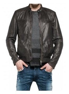 Biker Style Leather Jacket Blue