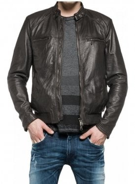 Biker Style Leather Jacket Blue