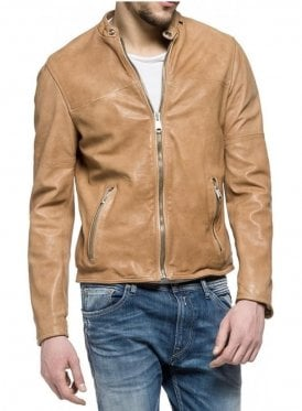 Biker Style Leather Jacket Tan