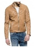 REPLAY Biker Style Leather Jacket Tan