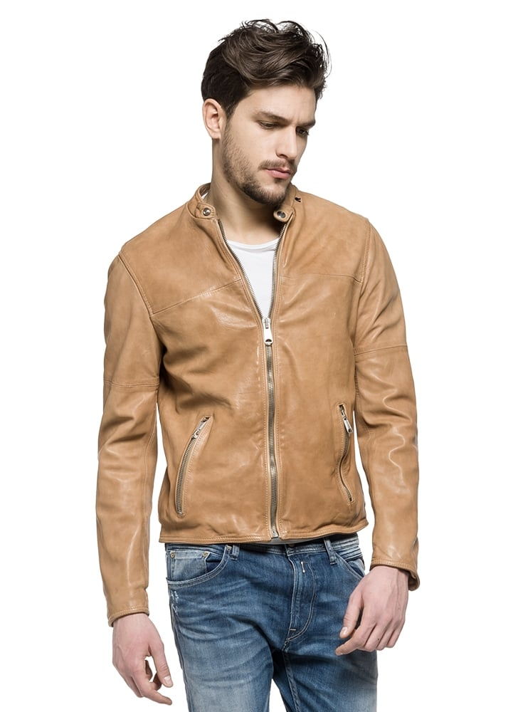 fa5c9bfdac53 Replay Biker Style Leather Jacket Tan