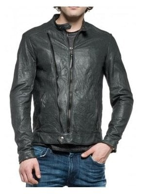 Biker Style Zip Detail Pockets Leather Jacket Dark Grey