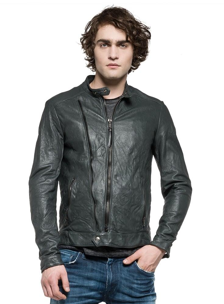 58e7fcc23fd7 Replay Biker Style Zip Detail Pockets Leather Jacket Dark Grey