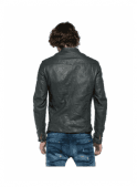 REPLAY Biker Style Zip Detail Pockets Leather Jacket Dark Grey