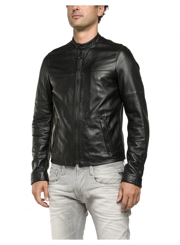 f5e7a4029fc3 Replay Biker Zip Pocket Detail Stud Collar Leather Black