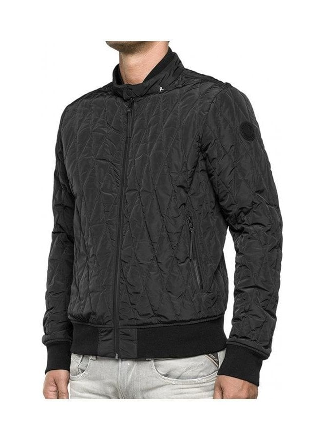 REPLAY Bomber Ribbed Cuff Side Zip Detail Pockets Black