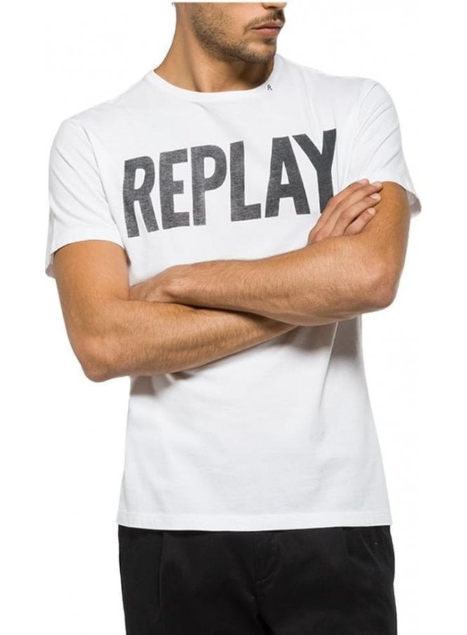REPLAY Branded Logo Crew Neck Tshirt White