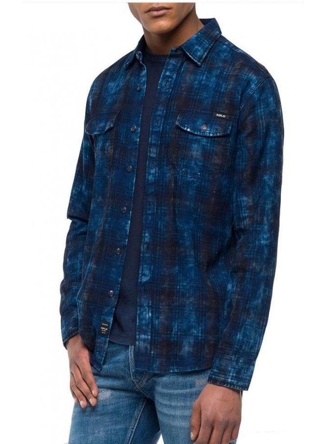 REPLAY Check Dark Indigo Blue Shirt